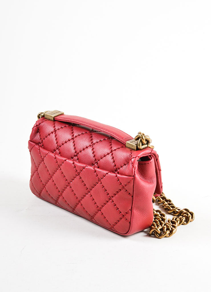 Chanel Red Leather Chain Strap Flap Crossbody Bag Sideview