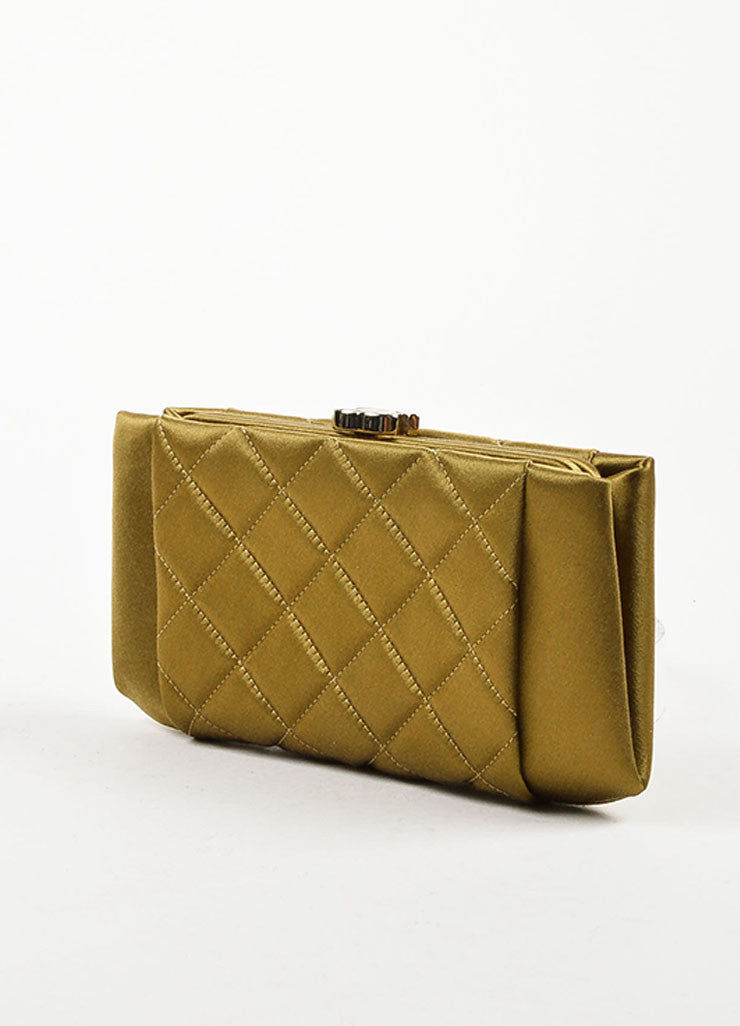 Chanel Olive Green Satin Quilted 'CC' Closure Clutch Bag Sideview