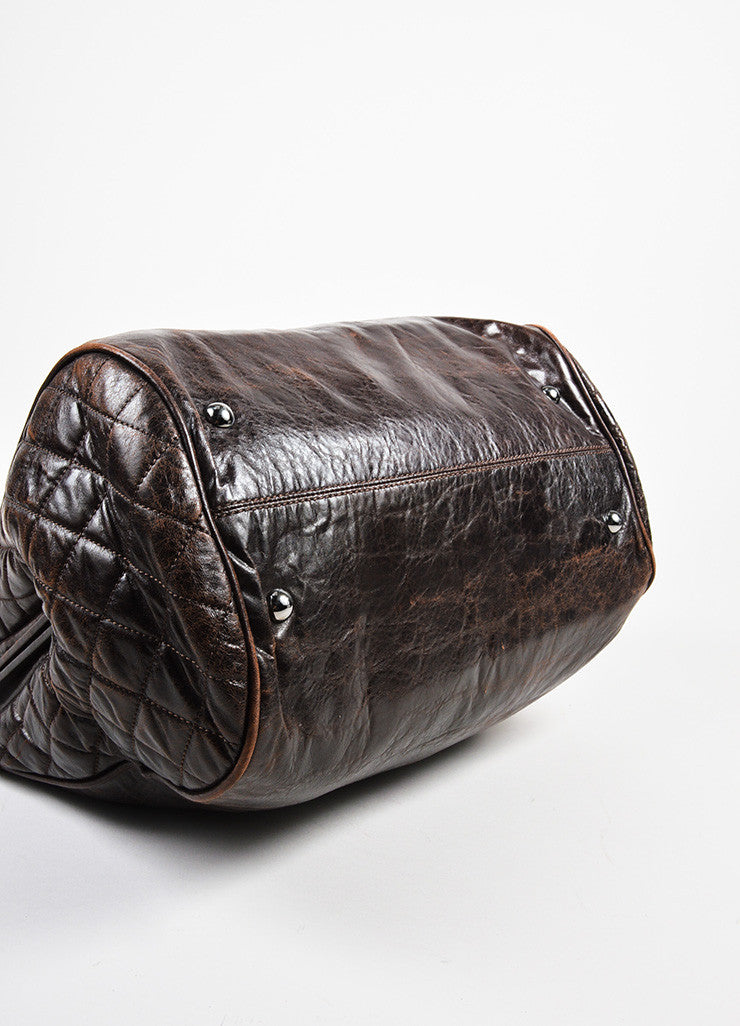 "Dark Brown Chanel Leather Quilted ""Perfect Day"" Tote Bag Bottom View"