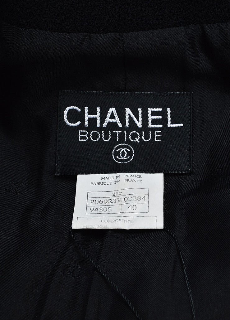 Black Chanel Wool Satin Trim 'CC' Button Jacket Brand