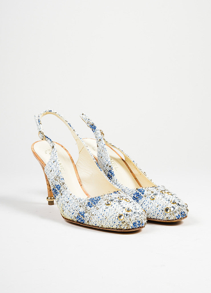 Blue and White Chanel Tweed Cork Swarovski Crystal 'CC' Slingback Pumps Frontview