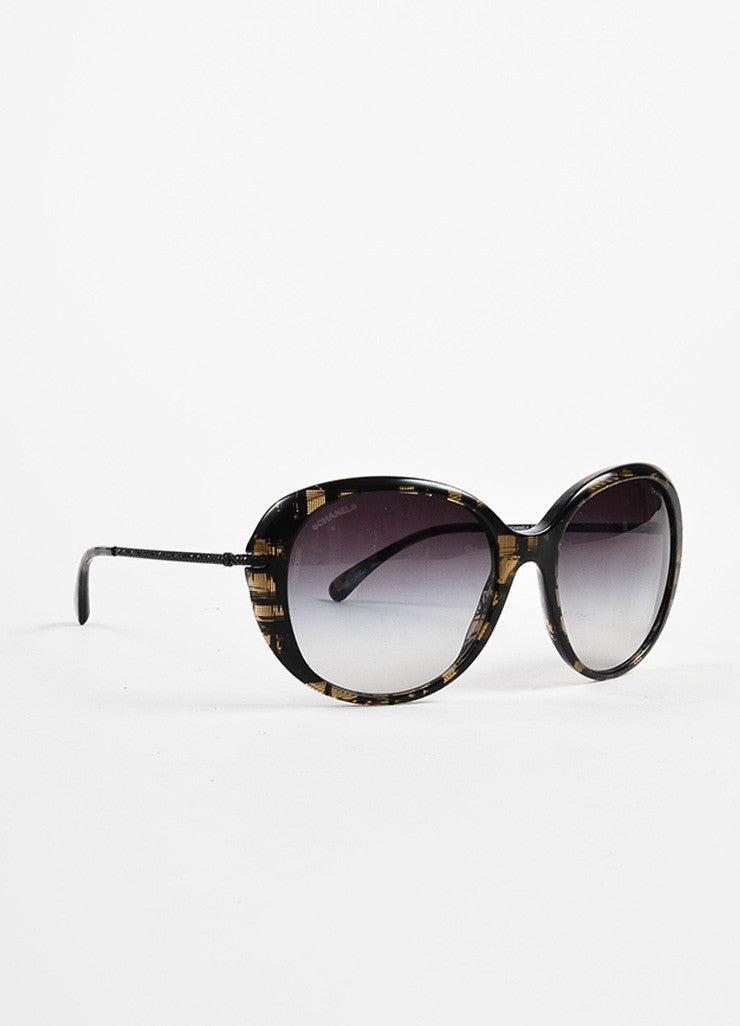 Chanel Black and Beige Pave Crystal Encrusted Gradient Tinted Sunglasses Sideview
