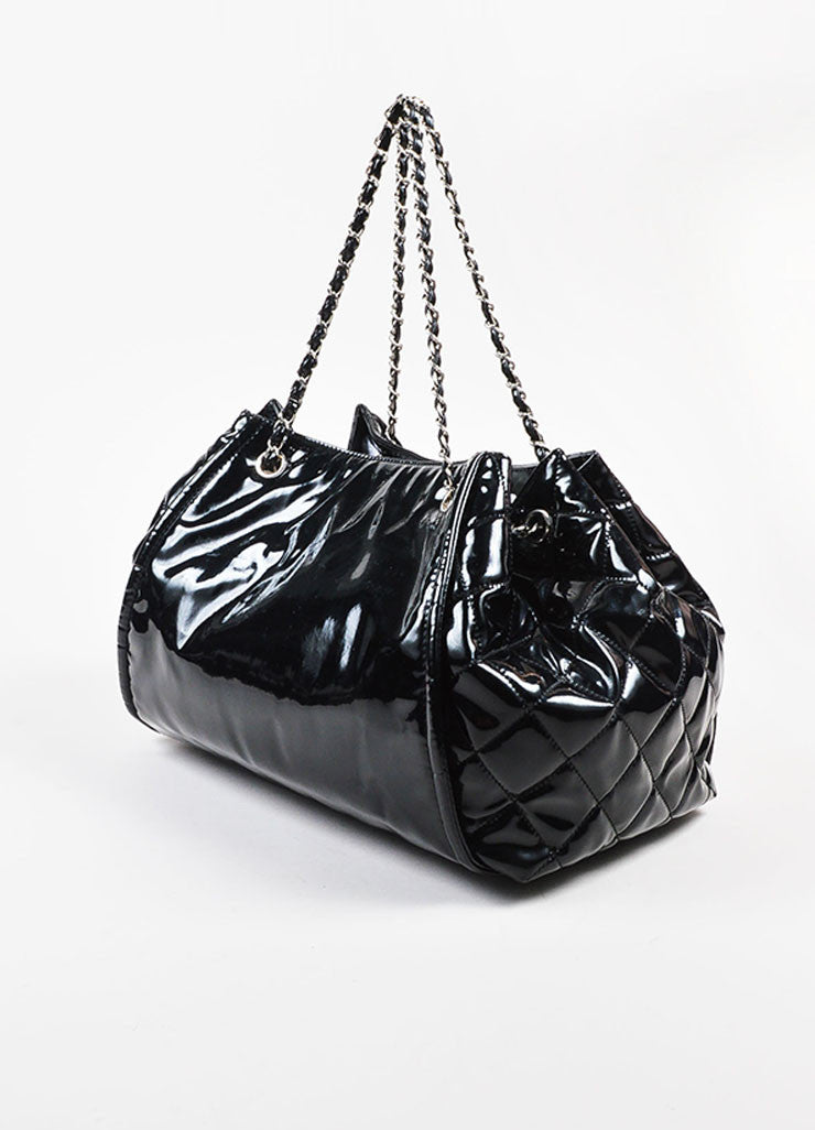 "Chanel Black Patent Leather 'CC' Embroidered ""Lipstick Ligne Large Tote"" Handbag Sideview"
