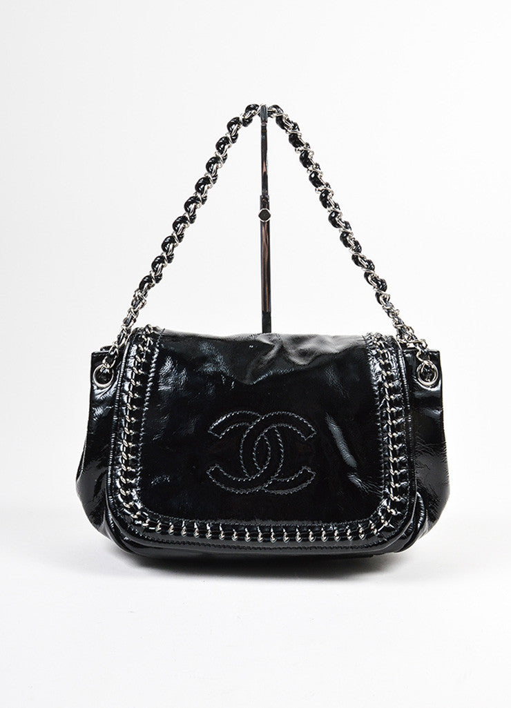 "Black Chanel Patent Leather Chain Strap ""Luxe Ligne Accordion"" Flap Shoulder Bag Frontview"