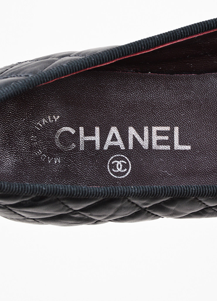 Chanel Black Quilted Leather 'CC' Logo Bow Detail Ballerina Flats Brand