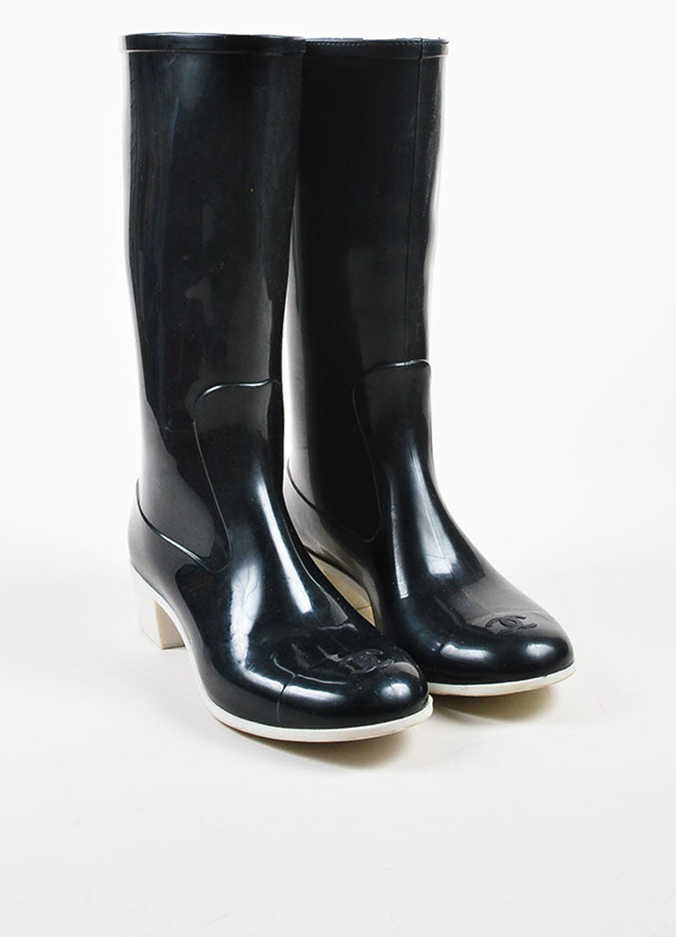 Chanel Black and White Rubber Cap Toe Rain Boots Frontview