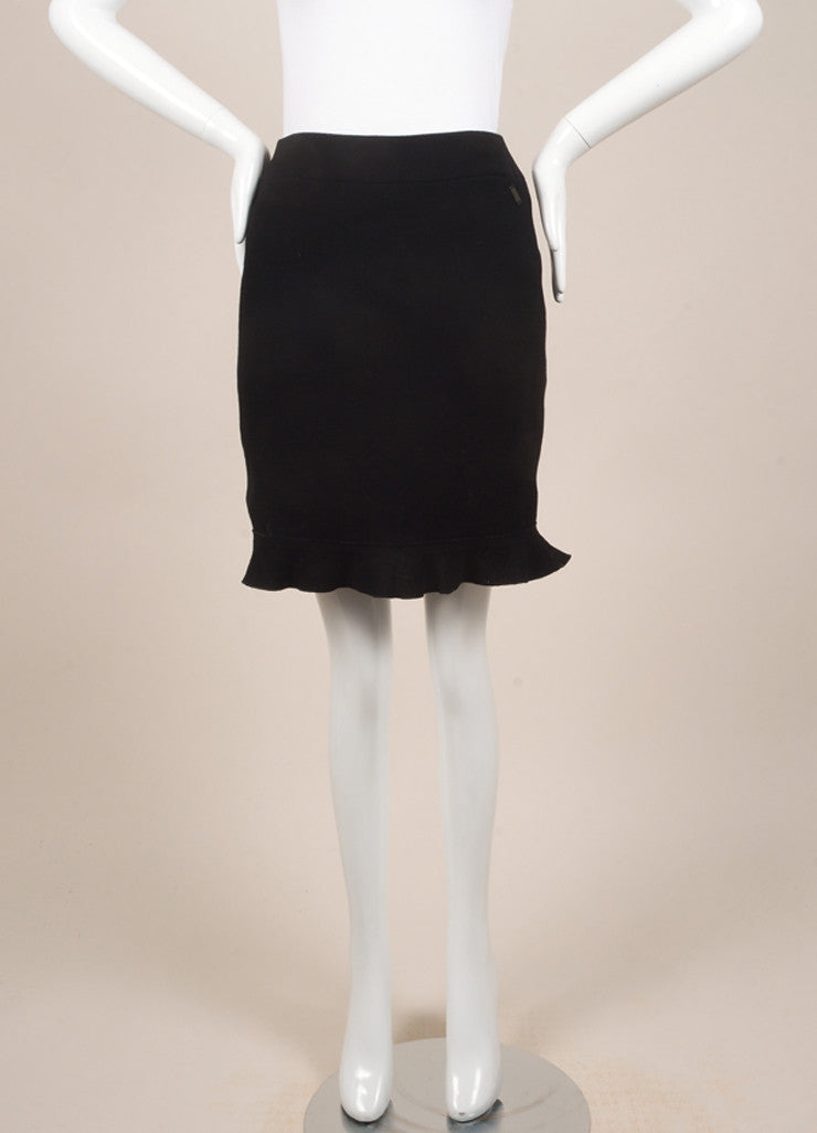 Chanel Black Wool Ruffle Skirt Frontview