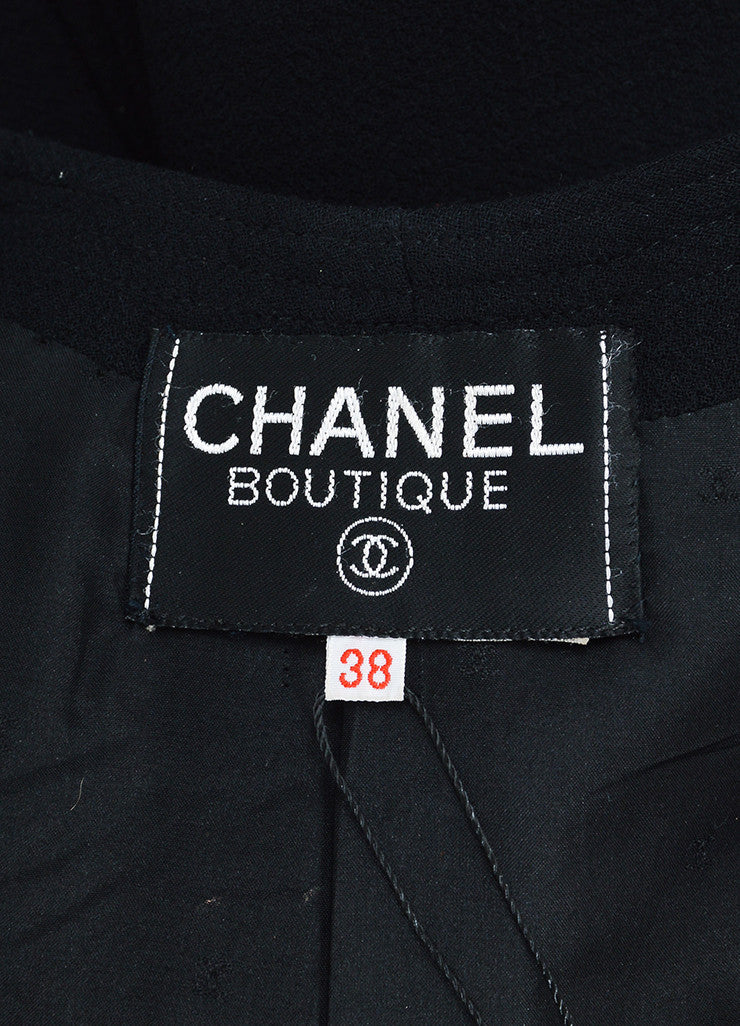 Chanel Black and Gold Toned Button Box Weave Jacket Brand