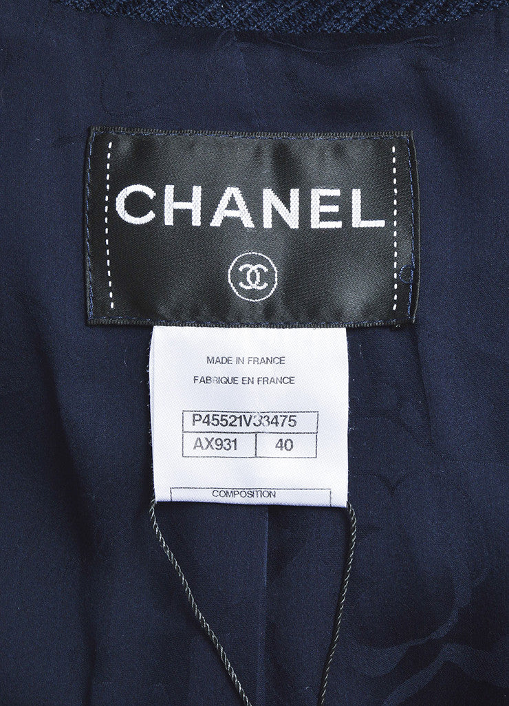å´?ÌÜChanel Navy Blue Cotton Ribbed Button Tab Blazer Jacket Brand