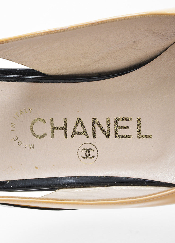 Chanel Nude and Black Patent Leather Cap Toe Slingback Platform Flats Brand