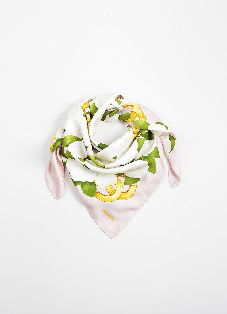 Pink, Green, and White Chanel Silk Camellia 'CC' Square Scarf Frontview