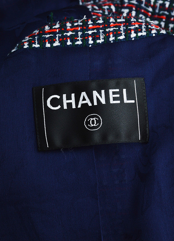 Chanel Red, Blue, and Green Gold Chain Trim 'CC' Button Tweed Fringe Trim Jacket Brand