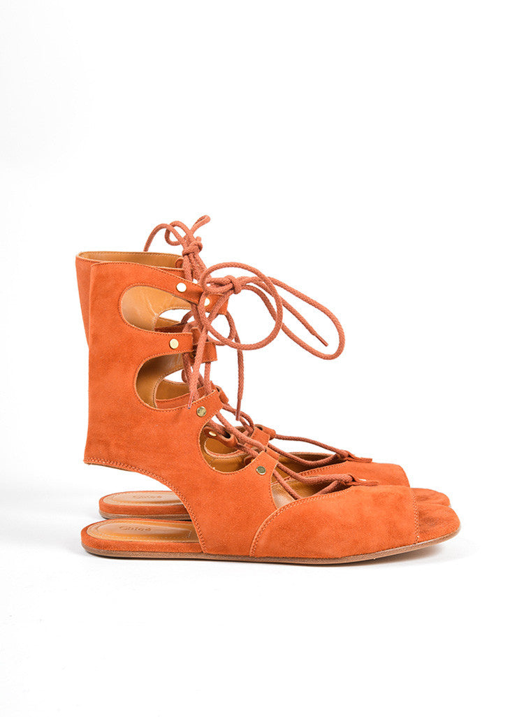 "Chloe Orange ""Sienna"" Suede Lace Up Gladiator Flat Sandals Sideview"