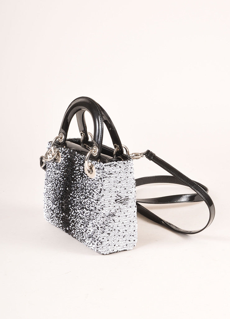 "Christian Dior Black and White Sequin and Patent Leather Small ""Lady Dior"" Bag Sideview"