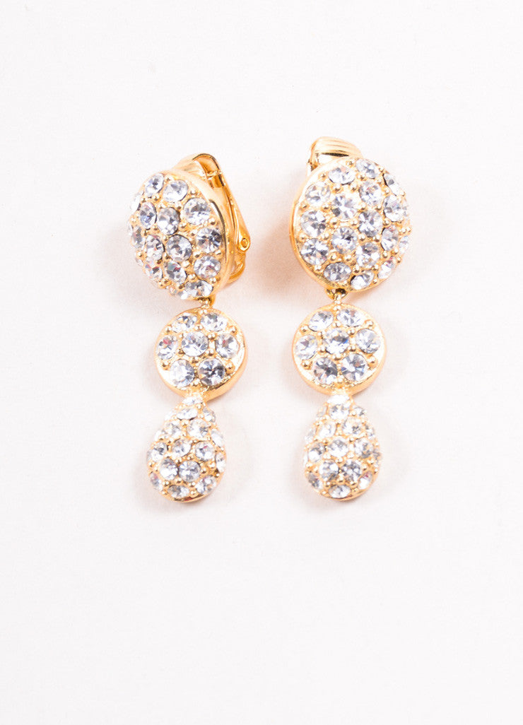 Christian Dior Gold Toned Pave Rhinestone Embellished Round Drop Earrings Frontview