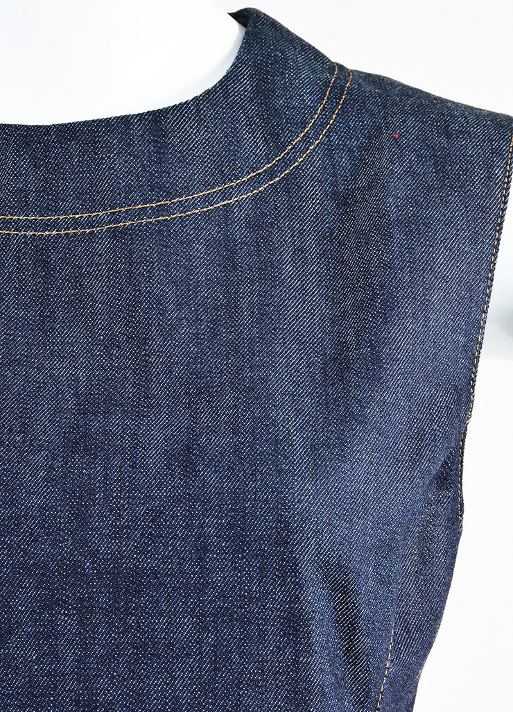 Blue Christian Dior Cotton Denim Fit Flare Jewel Pocket Dress Detail