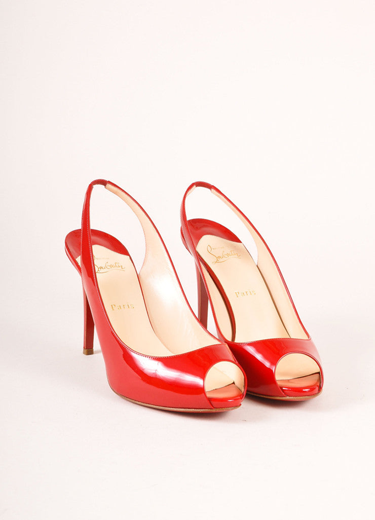 Christian Louboutin Red Patent Leather Peep Toe Slingback Pumps Frontview