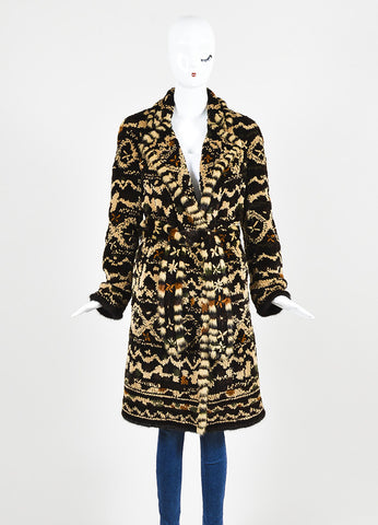 Dennis Basso Brown Multicolor Patterned Belted Fur Coat with Scarf Frontview