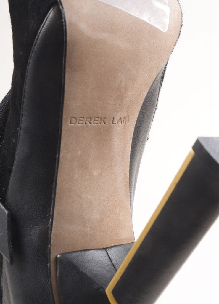 Derek Lam New In Box Black Pony Hair Leather Wrap High Heel Booties Brand