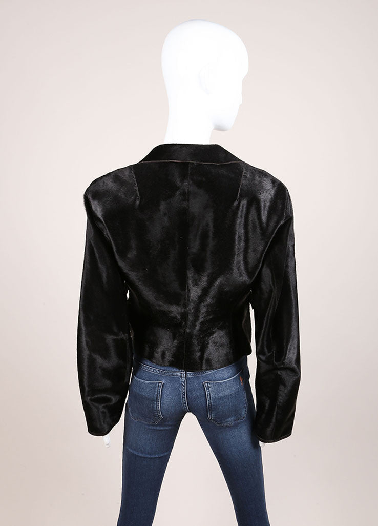 Donna Karan Black Pony Hair Leather Long Sleeve Jacket Backview