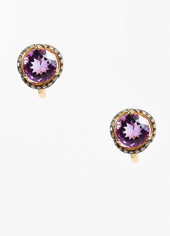 Effy 14K Yellow Gold 0.52 ct Brown Diamond Amethyst Earrings Frontview