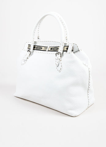 "Fendi Selleria White Pebbled Leather Embossed ""Grand Borghese"" Canvas Trim Bag Sideview"