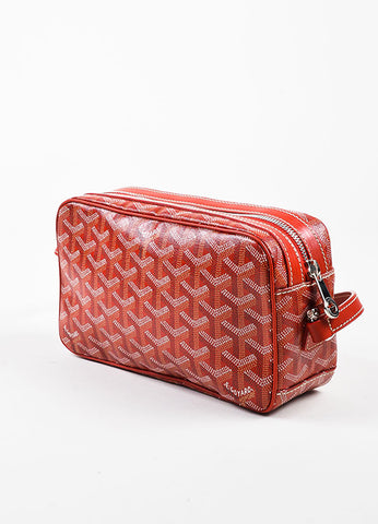"Goyard Red and White Coated Canvas Leather Trim Chevron Print ""Sac Capvert"" Bag Sideview"