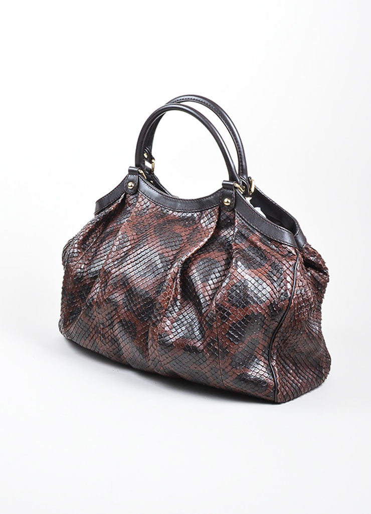"Brown and Black Gucci Python Large ""Sukey"" Hobo Bag Sideview"