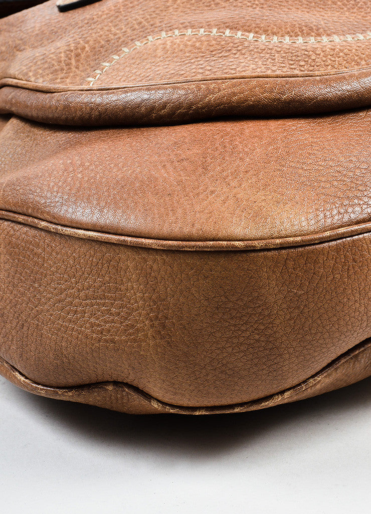 "Gucci Brown Leather Horsebit Accent ""New Pelham"" Hobo Shoulder Handbag Detail"
