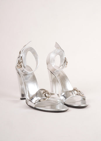 Gucci Metallic Silver Patent Leather Ankle Strap Buckle High Heel Sandals Frontview