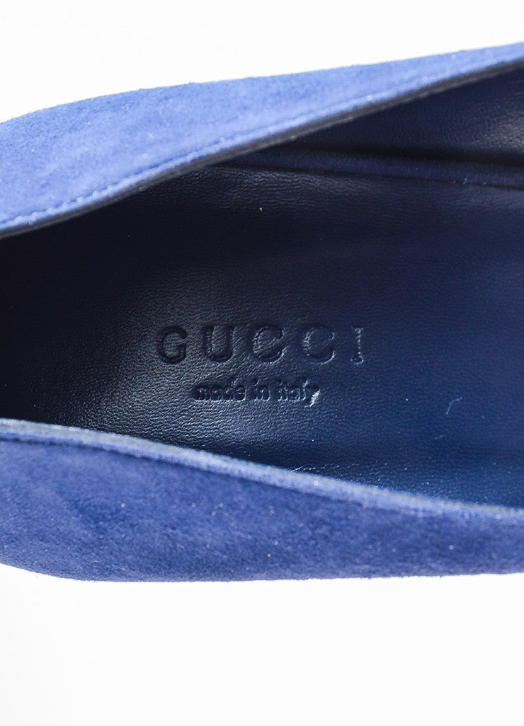 "Navy Blue Gucci Suede Pointed Toe ""Brooke 75mm"" Pumps Brand"