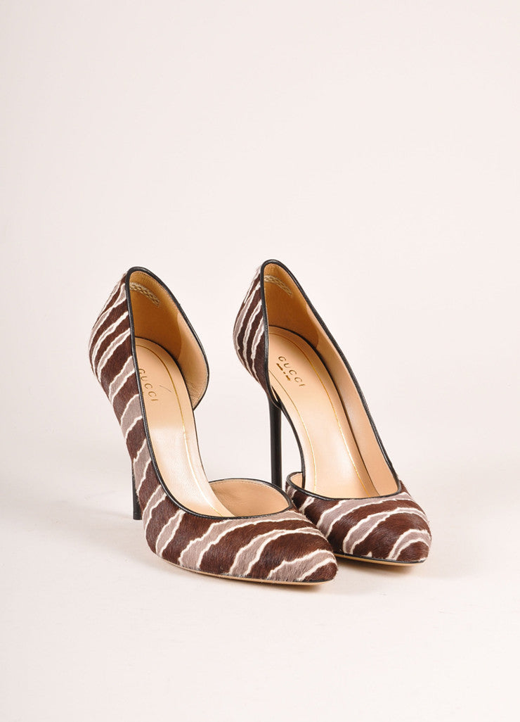 Gucci New In Box Brown and Grey Striped Pony Hair D'Orsay Pumps Frontview
