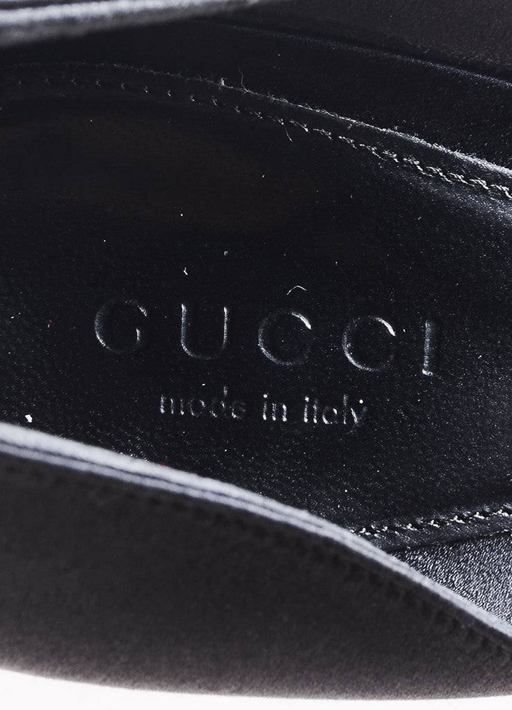 Gucci Black Satin Horsebit Buckle Rhinestone Peep Toe D'Orsay Pumps Brand