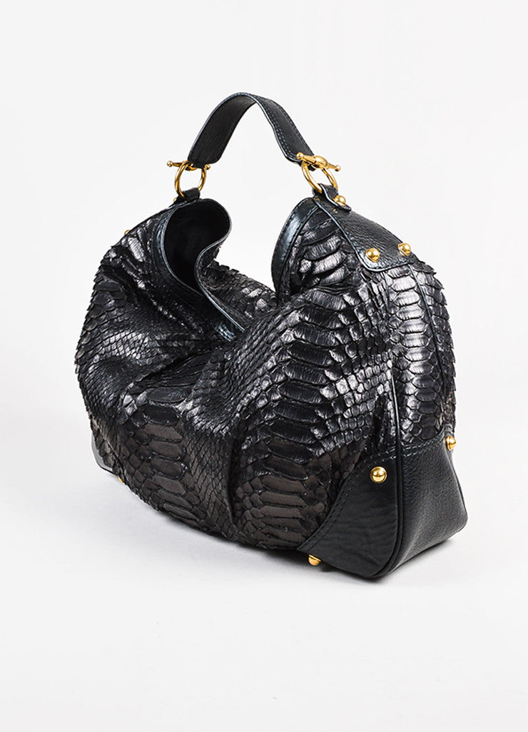 "Gucci Black Python Leather ""Large Jockey"" Hobo Bag Front"