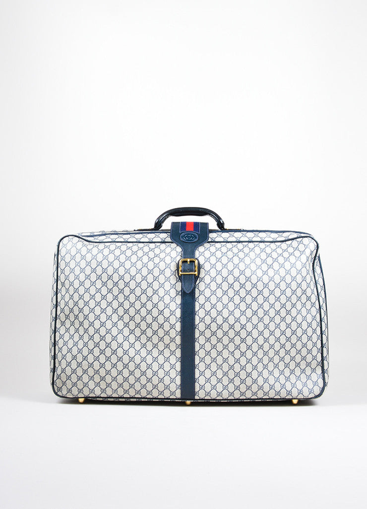 "Gucci Navy Blue and Cream Coated Canvas and Leather ""GG"" Monogram Large Luggage Frontview"