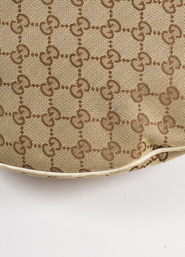 "Gucci Beige Monogram Canvas and Leather Horsebit ""Catena"" Hobo Bag Detail"