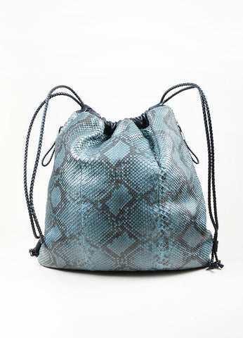 Men's Teal and Black Gucci Python Leather Braid Drawstring Oversized Backpack Frontview