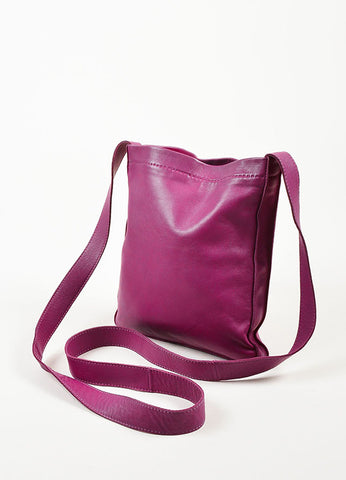 "Hermes Dark Magenta Lambskin Leather Perforated Logo ""Clou de Selle"" Bag Sideview"
