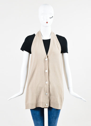 Hermes Beige Cashmere Buttoned Sleeveless Halter Sweater Vest Frontview 2