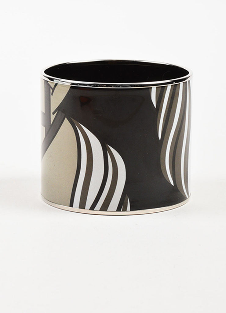 "Hermes Silver Toned and Black Enamel ""Quadrige"" Printed Mega Bracelet Backview"