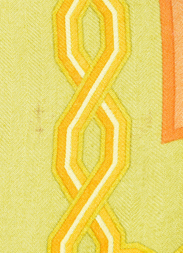 Orange and Green Hermes Cashmere and Silk Geometric Pattern 140cm Pashmina Scarf Detail 2