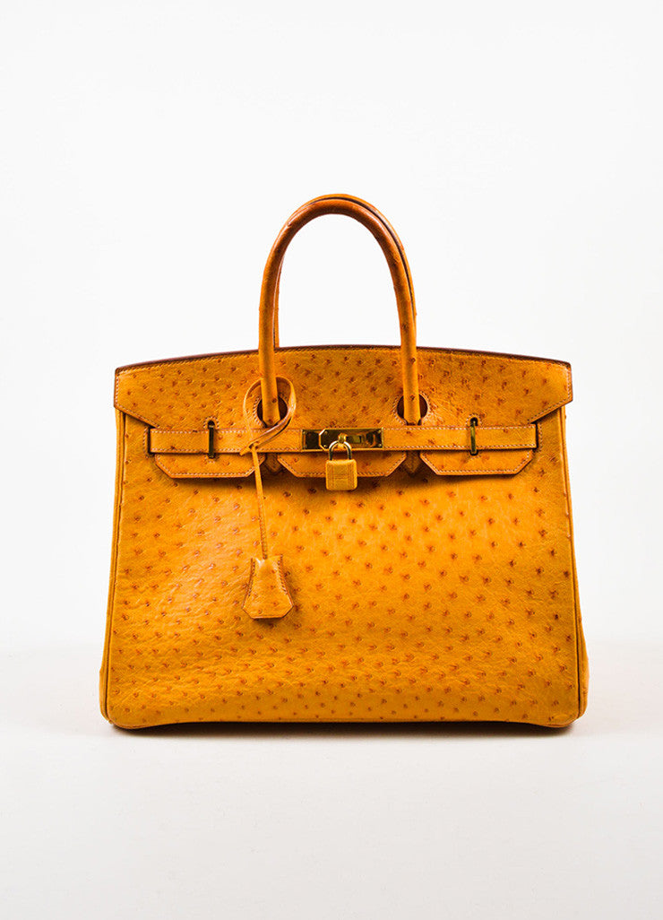 "Hermes 'Saffron' Orange Tan Ostrich Leather 35cm ""Birkin"" Handbag Frontview"