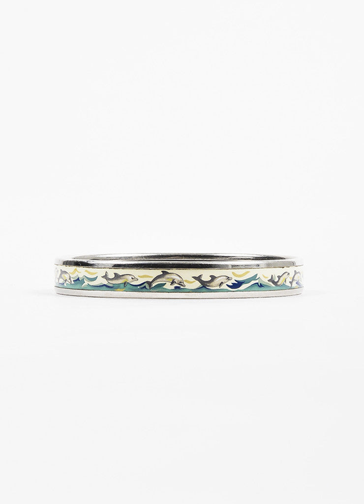 Hermes Silver Toned and Blue Palladium Plated Enamel Dolphin Print Bangle Bracelet Sideview