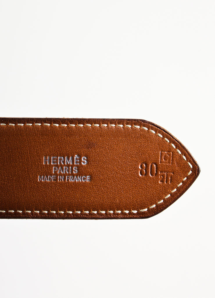 "Brown Leather and Silver Toned Hermes ""Rafale"" Belt Brand"