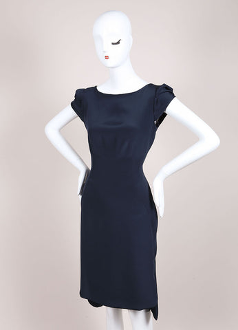 Holmes & Yang New With Tags Navy Silk Petal Sleeve Sheath Dress Sideview