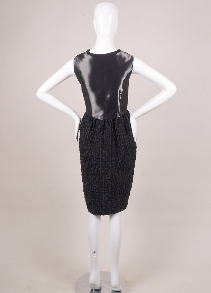 Honor New With Tags Black Liquid Textured Sleeveless Bell Dress Backview