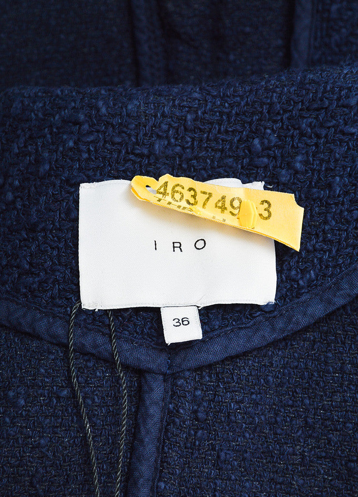 Navy Blue IRO Wool Boucle Silver Toned Zip Snap Jacket Brand