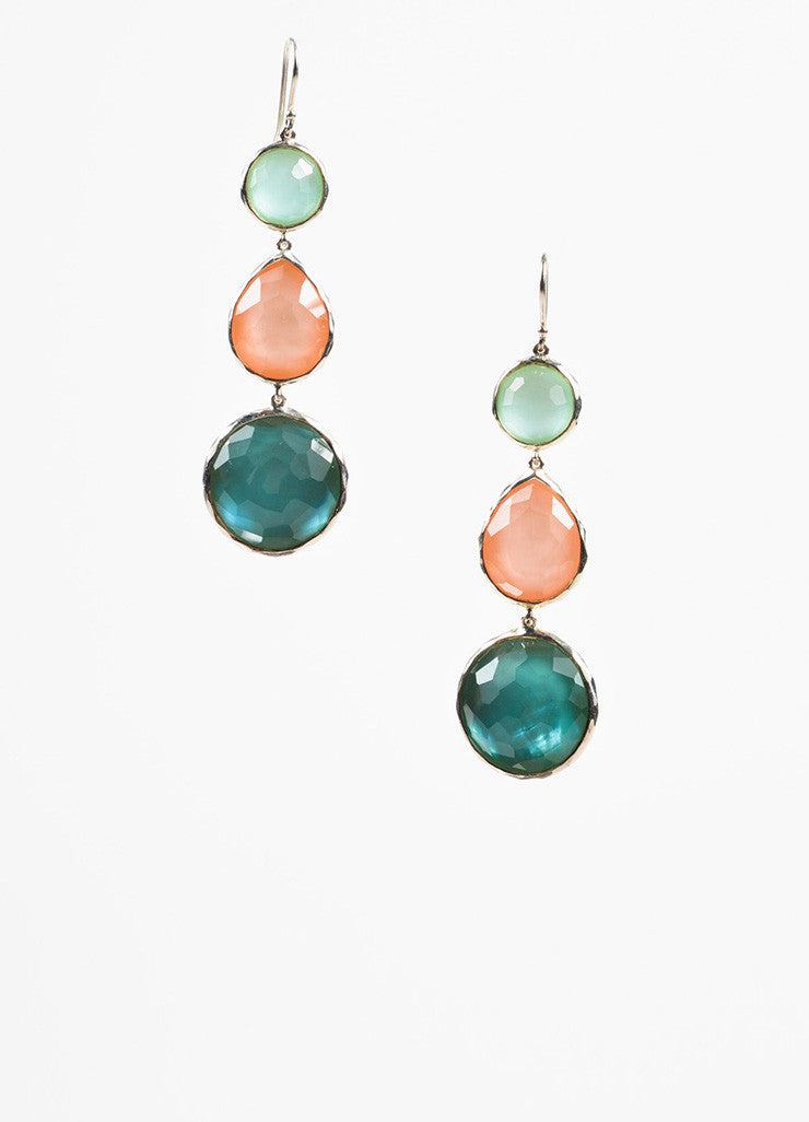 Ippolita Sterling Silver Peach Blue Quartz Mother Of Pearl Stone Drop Earrings Frontview