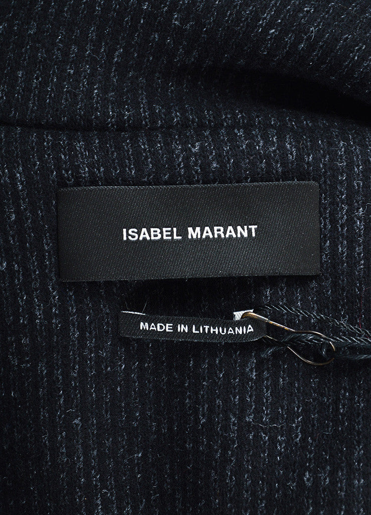"Black Isabel Marant Wool Pinstripe Double Breasted ""Paojo"" Jacket Brand"