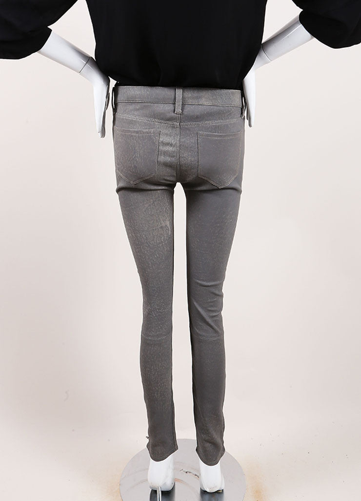 "J Brand Grey ""Rock"" Super Skinny Distressed Leather Pants Backview"